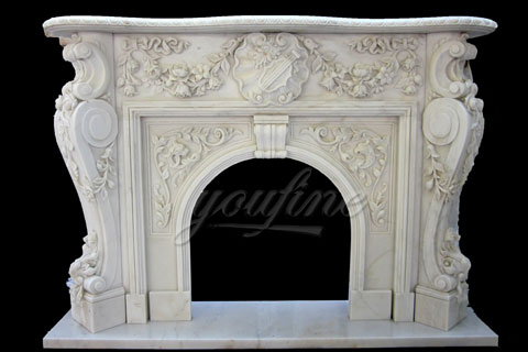 Antique large luxury beige Victorian marble fireplace mantels on sale