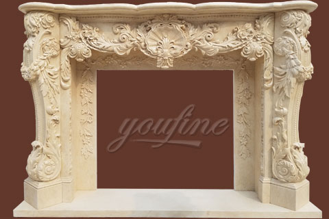 Customized Indoor French Marble Fireplace Surround With Competitive Price For Sale Stone Fireplace