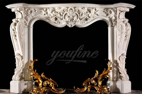 Decorative French style marble fireplace mantels