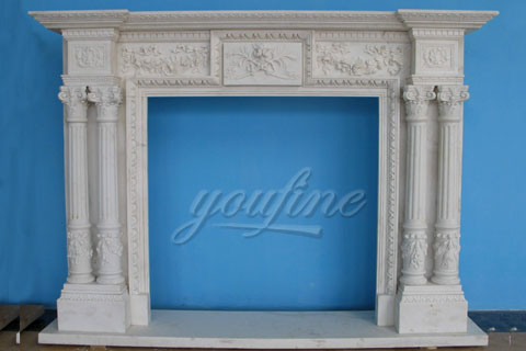 Decorative Regency white marble fireplace mantels for sale
