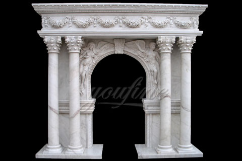 Decorative antique  marble fireplace mantels for interior use