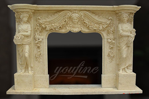 Decorative classical beige marble fireplace mantels for sale