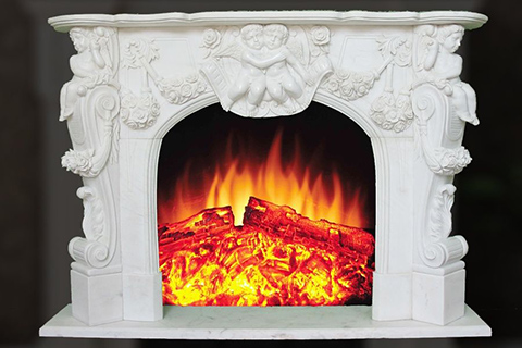 Decorative indoor marble fireplace frames with angel for sale