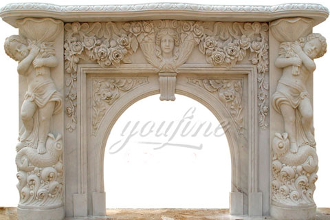 Decorative luxury beige marble fireplace mantels for sale