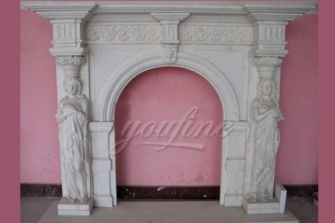 decorative statue marble fireplace mantels for sale