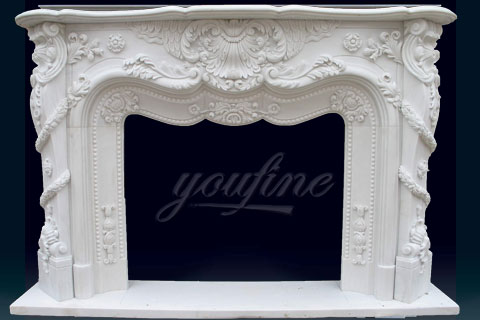 Factory decorative french style white marble fireplace mantels on sale