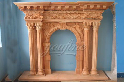 High quality Victorian beige marble fireplace mantels for sale
