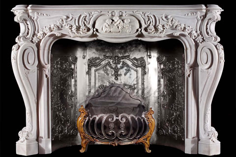 High quality decorative French natural marble fireplace surround for sale