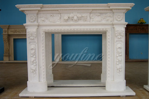 High quality beautiful white Georgian marble fireplace mantels