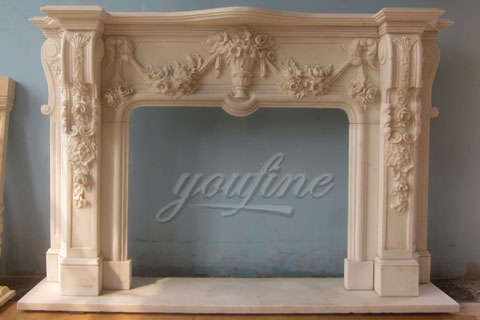 Hot sale decorative french yellow marble fireplace frame for sale