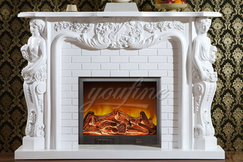 Indoor French style white marble fireplaces for sale