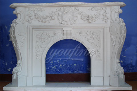 Indoor Victorian white marble fireplace frame for decoration