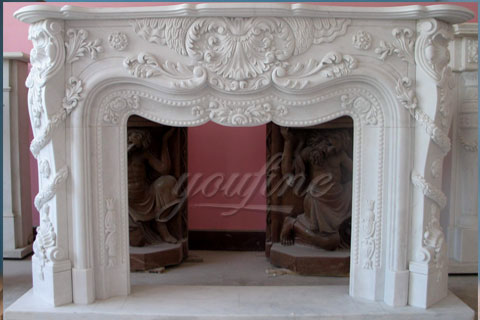 Interior Decoration French hand carved marble fireplace mantels