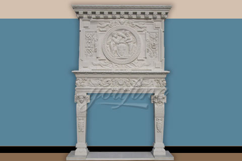 Large carved statue beige marble fireplace over mantel for decoration