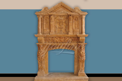 Large luxury beige marble fireplace over mantel for decoration