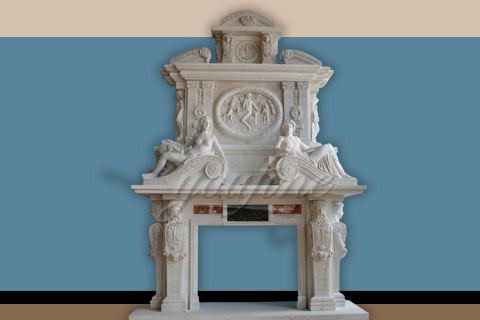 Luxury decorativewhite marble fireplace over mantel on sale