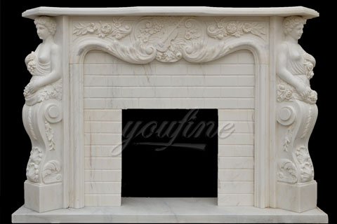 New design indoor decorative French style beige marble fireplaces